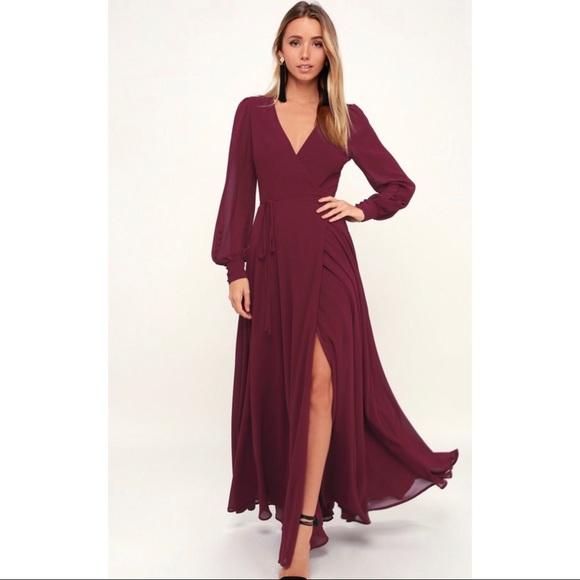 27617f19c466 Lulu's Dresses | Nwt Lulus My Whole Heart Long Sleeve Wrap Dress ...
